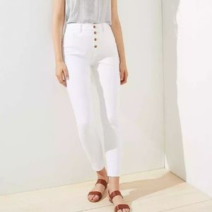 LOFT White High Waist Button Front Skinny Jeans 14